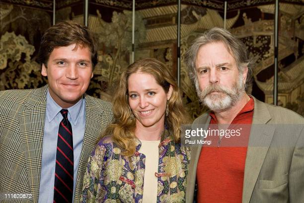Tucker Carlson, Washington Life Magazine Editor-in-Chief Nancy Reynolds Bagley and Musician Bob Weir pose for a photo at a HeadCount fundraiser held...