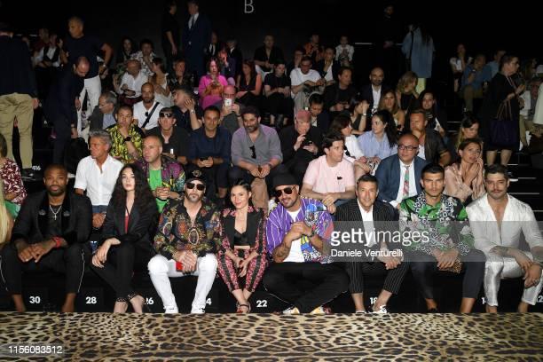 J Tucker Deva Cassel Giusy Ferreri Takagi Ketra Girolamo Panzetta Marco Fantini and Kadu Dantas attend Dolce Gabbana Front Row Milan Men's Fashion...