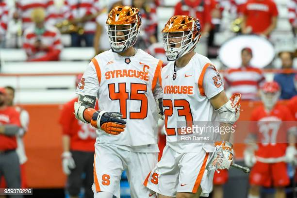 Tucker Dordevic of the Syracuse Orange celebrates his goal with teammate Brendan Bomberry against the Cornell Big Red during a 2018 NCAA Division I...