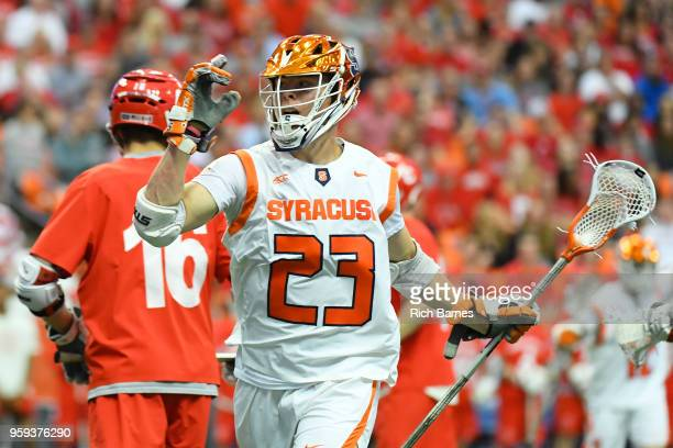 Tucker Dordevic of the Syracuse Orange reacts to his goal against the Cornell Big Red during a 2018 NCAA Division I Men's Lacrosse Championship First...