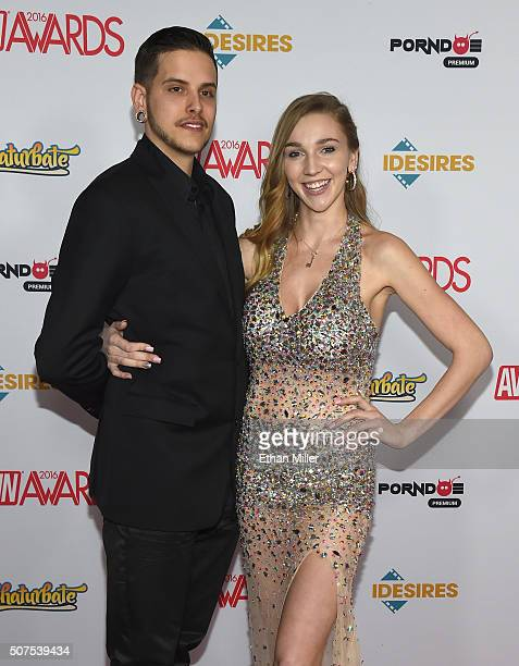 Tucker Elliott and adult film actress Kendra Sunderland attend the 2016 Adult Video News Awards at the Hard Rock Hotel Casino on January 23 2016 in...