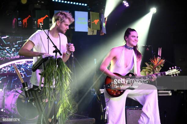 Tucker Halpern and Sophie HawleyWeld of Sofi Tukker perform at the Mazda Studio at Empire during the 2017 SXSW Conference And Festivals on March 14...