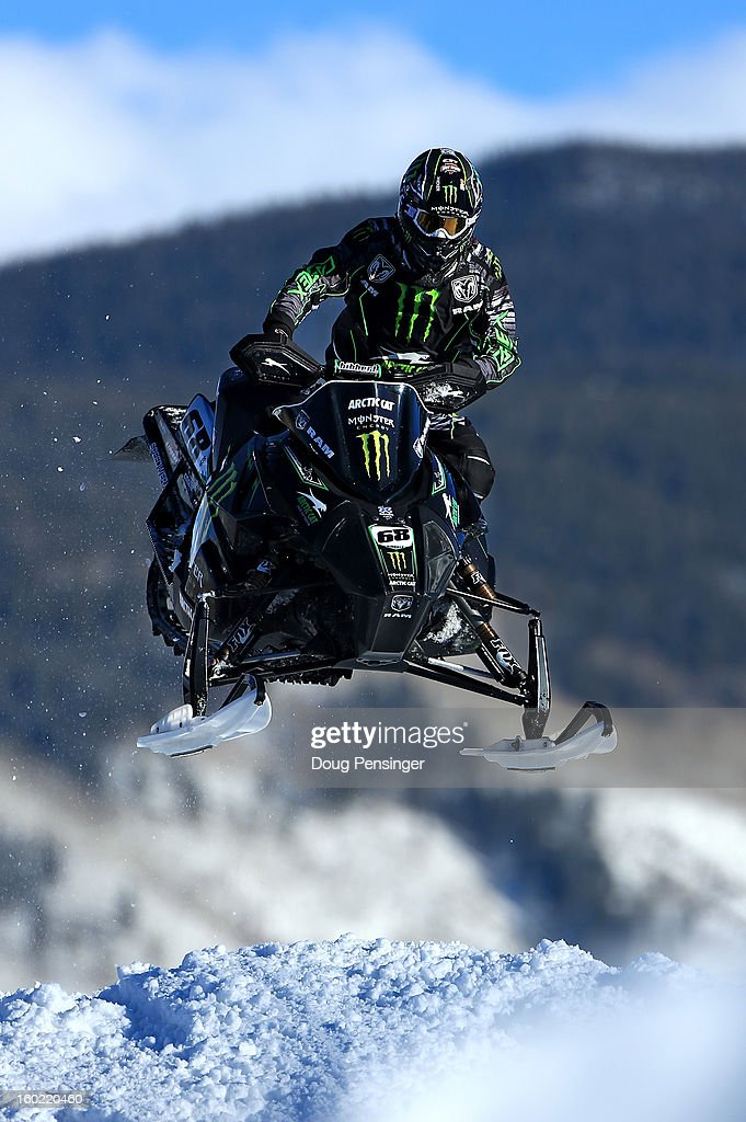 Tucker Hibbert races to take the gold medal in the Snowmobile Snocross Final at Winter X Games Aspen 2013 at Buttermilk Mountain on January 27, 2013 in Aspen, Colorado.