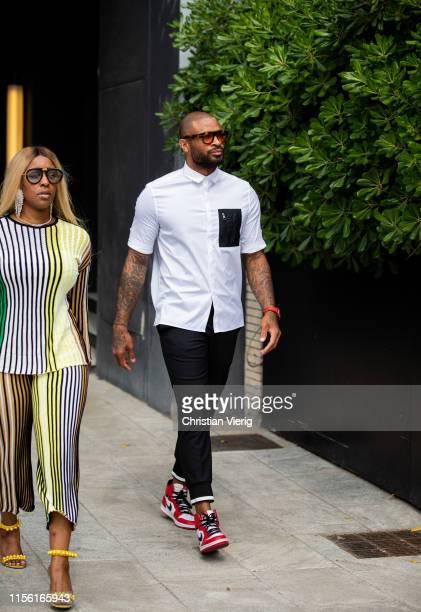 Tucker is seen outside Neil Barrett during the Milan Men's Fashion Week Spring/Summer 2020 on June 15, 2019 in Milan, Italy.