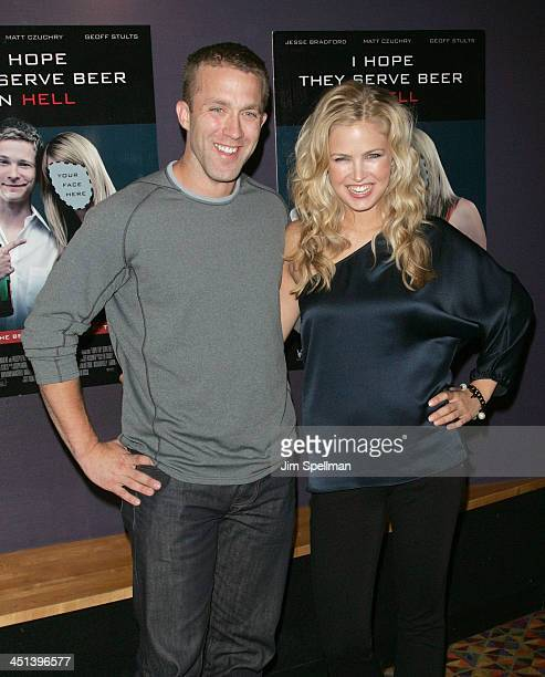 Tucker Max and Actress Keri Lynn Pratt attend the premiere of I Hope They Serve Beer In Hell at the AMC Empire 25 on September 3, 2009 in New York...