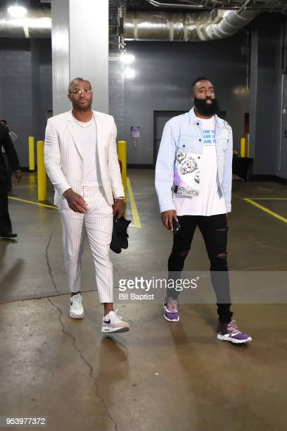 Tucker of the Houston Rockets and James Harden of the Houston Rockets arrive at the stadium before the game against the Utah Jazz in Game Two of...