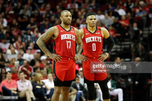 J Tucker of the Houston Rockets and Russell Westbrook react in the first half against the New Orleans Pelicans at Toyota Center on February 02 2020...