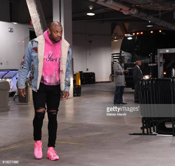Tucker of the Houston Rockets arrives at the arena before the game against the Brooklyn Nets at Barclays Center on February 6 2018 in the Brooklyn...