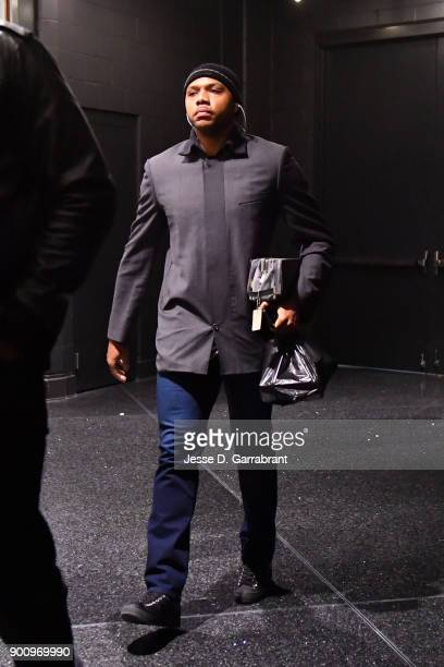 Tucker of the Houston Rockets arrives at the stadium before the game against the Boston Celtics of the Boston Celtics during the game against the...