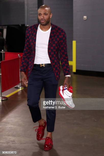 Tucker of the Houston Rockets arrives at the stadium before the game against Golden State Warriors on January 20 2018 at the Toyota Center in Houston...
