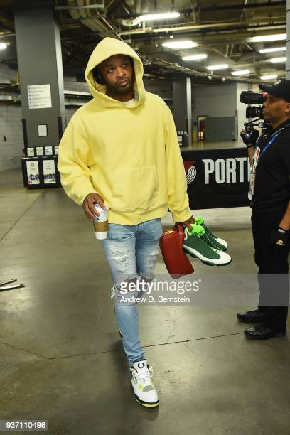 Tucker of the Houston Rockets arrives at the stadium before the game against the Portland Trail Blazers on March 20 2018 at the Moda Center in...