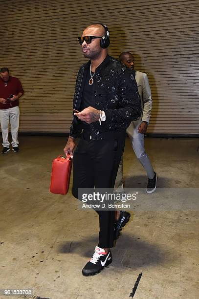 Tucker of the Houston Rockets arrives at the stadium before the game against the Golden State Warriors in Game Four of the Western Conference Finals...
