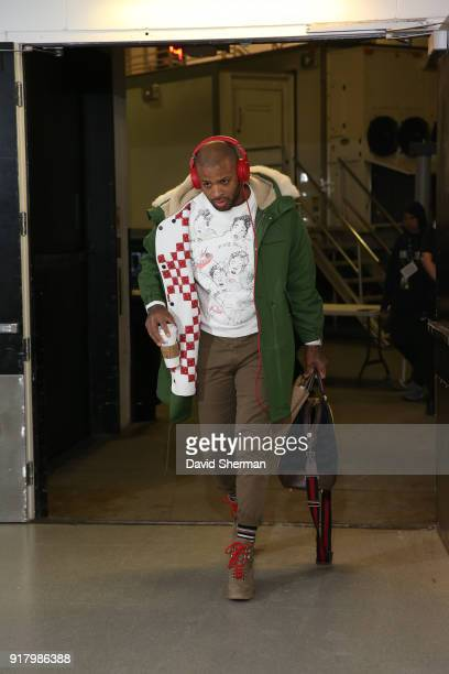 Tucker of the Houston Rockets arrives before the game against the Minnesota Timberwolves on February 13 2018 at Target Center in Minneapolis...