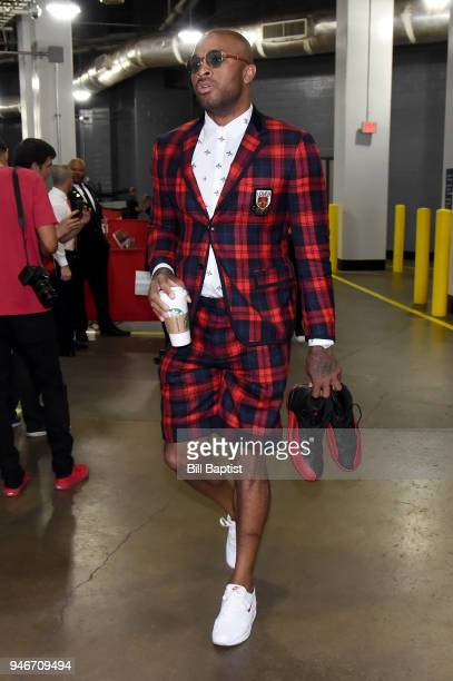 Tucker of the Houston Rockets arrives before the game against the Minnesota Timberwolves in Game One of Round One of the 2018 NBA Playoffs on April...