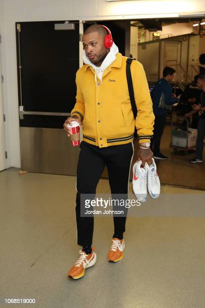 Tucker of the Houston Rockets arrives to the arena prior to the game against the Minnesota Timberwolves on December 3 2017 at Target Center in...
