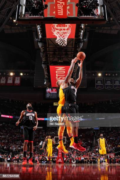 Tucker of the Houston Rockets battles for the rebound against the Indiana Pacers on November 29 2017 at the Toyota Center in Houston Texas NOTE TO...