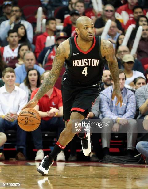 Tucker of the Houston Rockets brings the ball up court against the Miami Heat at Toyota Center on January 22 2018 in Houston Texas NOTE TO USER User...