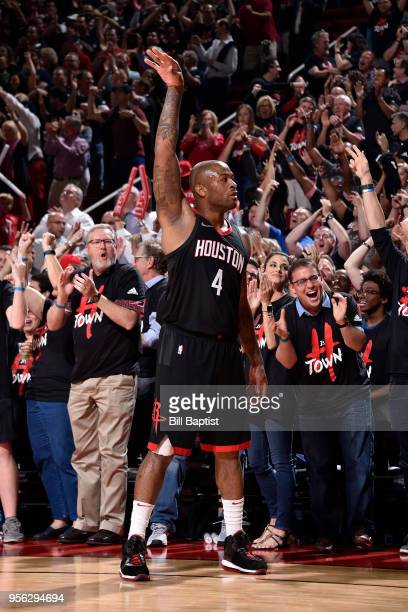 Tucker of the Houston Rockets celebrates hitting a three point shot against the Utah Jazz in Game Five of the Western Conference Semifinals of the...