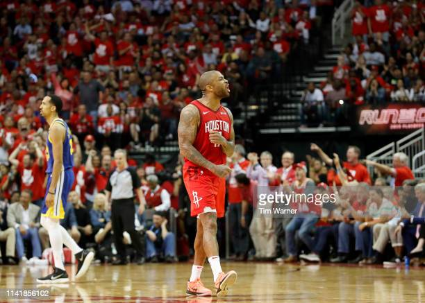 Tucker of the Houston Rockets celebrates in the fourth quarter during Game Four of the Second Round of the 2019 NBA Western Conference Playoffs...