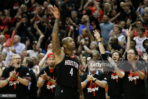 Tucker of the Houston Rockets celebrates with the crowd after making a threepoint shot in the closig minutes of the fourth quarter during Game Five...