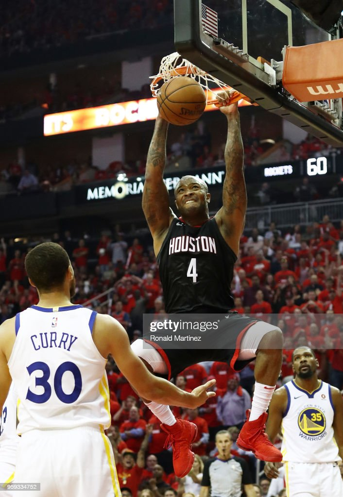PJ Tucker #4 of the Houston Rockets dunks against the Golden State Warriors in the first half of Game Two of the Western Conference Finals of the 2018 NBA Playoffs at Toyota Center on May 16, 2018 in Houston, Texas.