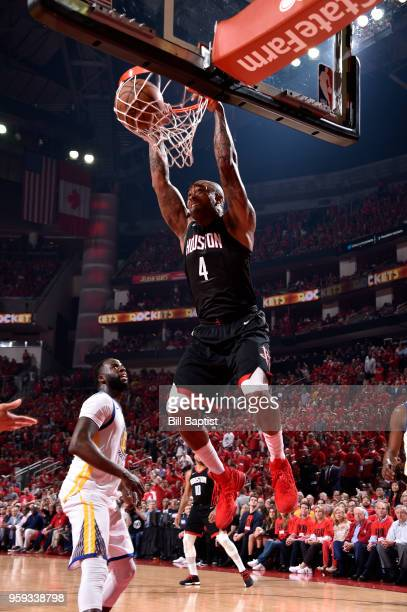 Tucker of the Houston Rockets dunks the ball against the Golden State Warriors in Game Two of the Western Conference Finals of the 2018 NBA Playoffs...