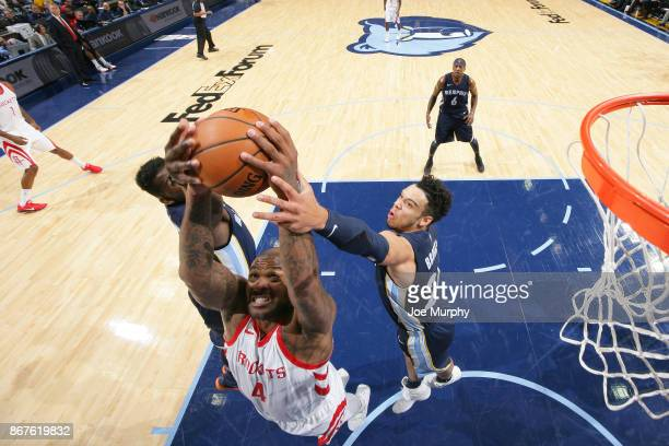 Tucker of the Houston Rockets grabs the rebound against the Memphis Grizzlies on October 28 2017 at FedExForum in Memphis Tennessee NOTE TO USER User...