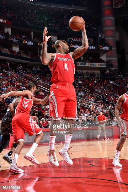 Tucker of the Houston Rockets grabs the rebound against the San Antonio Spurs on March 12 2018 at the Toyota Center in Houston Texas NOTE TO USER...