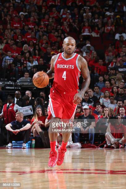 Tucker of the Houston Rockets handles the ball against the Dallas Mavericks on October 21 2017 at the Toyota Center in Houston Texas NOTE TO USER...