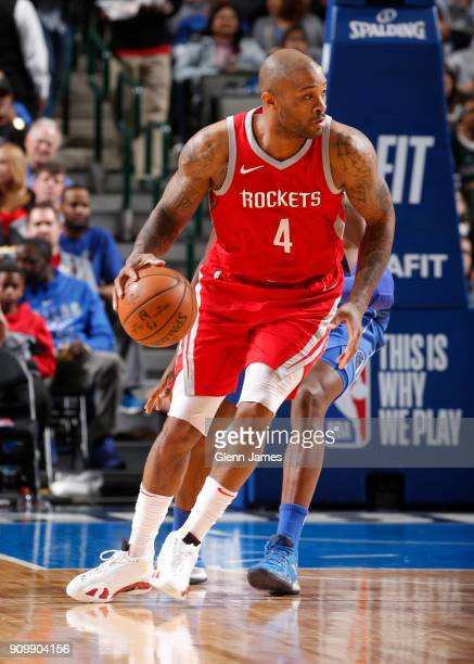 Tucker of the Houston Rockets handles the ball against the Dallas Mavericks on January 24 2018 at the American Airlines Center in Dallas Texas NOTE...
