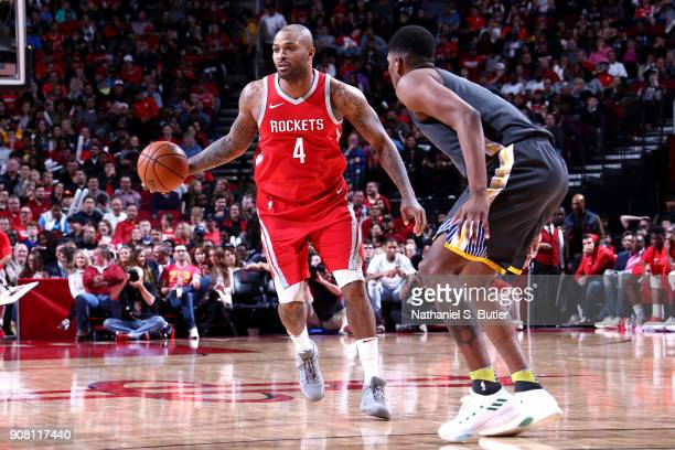Tucker of the Houston Rockets handles the ball against the Golden State Warriors on January 20 2018 at the Toyota Center in Houston Texas NOTE TO...