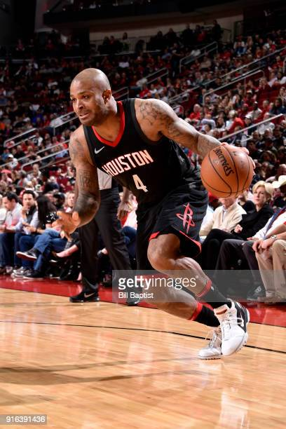 Tucker of the Houston Rockets handles the ball during the game against the Denver Nuggets on February 9 2018 at the Toyota Center in Houston Texas...