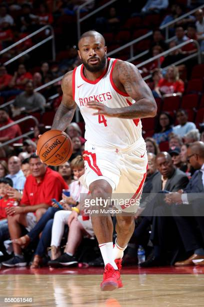 Tucker of the Houston Rockets handles the ball during the preseason game against the Shanghai Sharks on October 5 2017 at the Toyota Center in...
