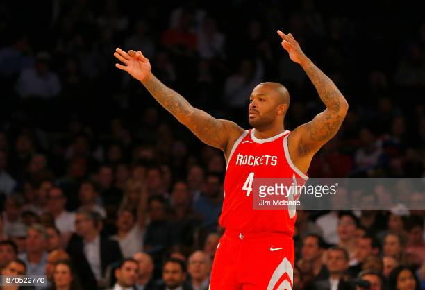 PJ Tucker of the Houston Rockets in action against the New York Knicks at Madison Square Garden on November 1 2017 in New York City The Rockets...