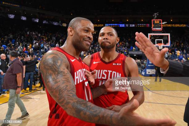 Tucker of the Houston Rockets is hifived before the game against the Golden State Warriors on February 23 2019 at ORACLE Arena in Oakland California...
