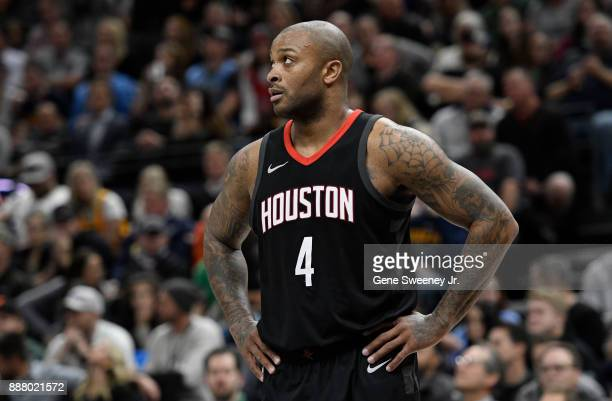 Tucker of the Houston Rockets looks on in the first half against the Utah Jazz at Vivint Smart Home Arena on December 7 2017 in Salt Lake City Utah...