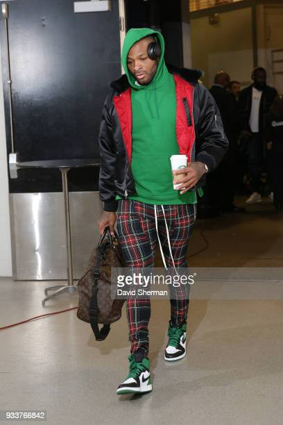 Tucker of the Houston Rockets makes his arrival before the game against the Minnesota Timberwolves on March 18 2018 at Target Center in Minneapolis...