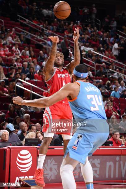 Tucker of the Houston Rockets passes the ball against the LA Clippers on March 15 2018 at the Toyota Center in Houston Texas NOTE TO USER User...