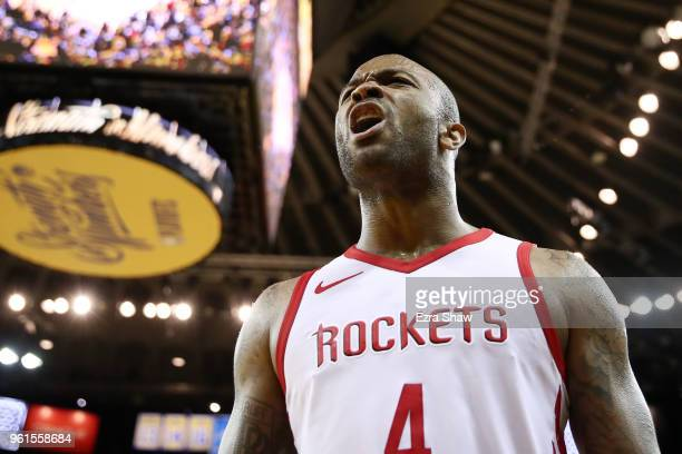 Tucker of the Houston Rockets reacts after a play against the Golden State Warriors during Game Four of the Western Conference Finals of the 2018 NBA...