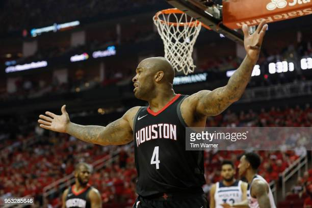 Tucker of the Houston Rockets reacts in the second half during Game Five of the first round of the 2018 NBA Playoffs against the Minnesota...