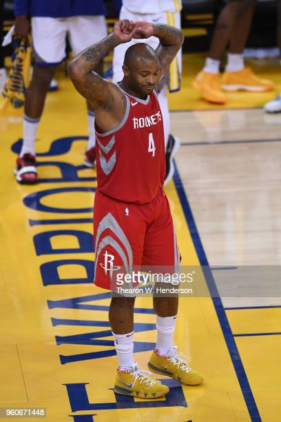 Tucker of the Houston Rockets reacts to a foul call during Game Three of the Western Conference Finals of the 2018 NBA Playoffs against the Golden...