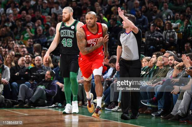 Tucker of the Houston Rockets reacts to a play during the game against the Boston Celtics on March 3 2019 at the TD Garden in Boston Massachusetts...
