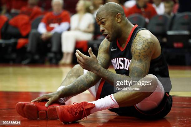 Tucker of the Houston Rockets reacts to contact in the third quarter against the Golden State Warriors in Game Two of the Western Conference Finals...