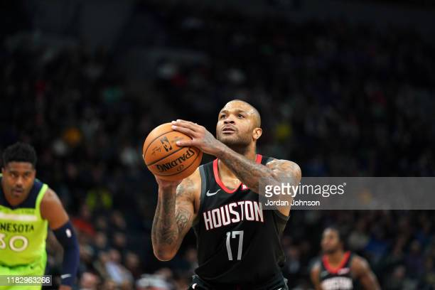Tucker of the Houston Rockets shoots a free throw during a game against the Minnesota Timberwolves on November 16 2019 at Target Center in...
