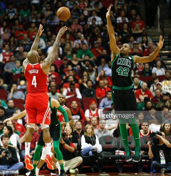 Tucker of the Houston Rockets shoots over Al Horford of the Boston Celtics at Toyota Center on March 3 2018 in Houston Texas NOTE TO USER User...