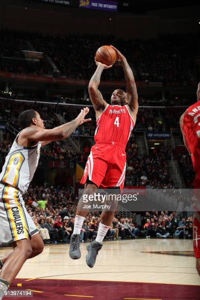 Tucker of the Houston Rockets shoots the ball against the Cleveland Cavaliers on February 3 2018 at Quicken Loans Arena in Cleveland Ohio NOTE TO...