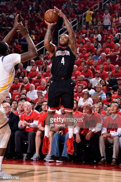 Tucker of the Houston Rockets shoots the ball against the Golden State Warriors in Game Two of the Western Conference Finals of the 2018 NBA Playoffs...