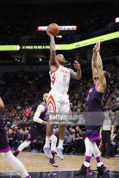 Tucker of the Houston Rockets shoots the ball against the Minnesota Timberwolves on February 13 2019 at Target Center in Minneapolis Minnesota NOTE...