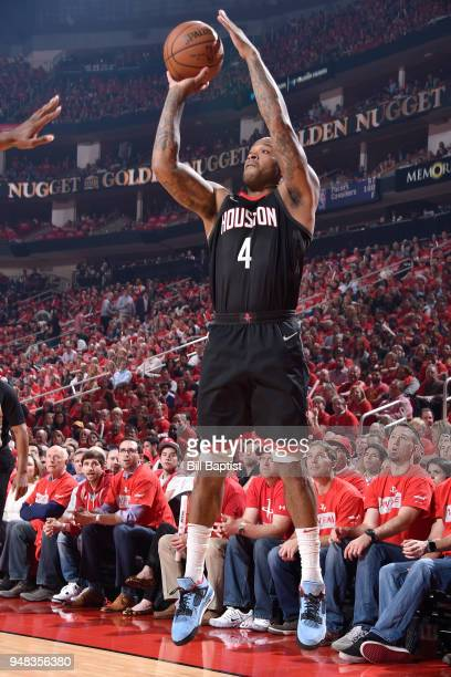 Tucker of the Houston Rockets shoots the ball against the Minnesota Timberwolves during Game Two of Round One of the 2018 NBA Playoffs on April 18...