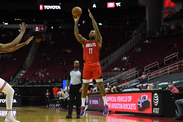 Tucker of the Houston Rockets shoots the ball during the game against the Chicago Bulls on February 22, 2021 at the Toyota Center in Houston, Texas....